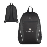 Atlas Black Computer Backpack-Pi Kappa Phi Stacked