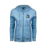 ENZA Ladies Light Blue Fleece Full Zip Hoodie-Star