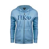 ENZA Ladies Light Blue Fleece Full Zip Hoodie-Greek Letters Foil