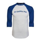 White/Royal Raglan Baseball T Shirt-Arched Pi Kappa Phi