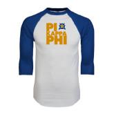 White/Royal Raglan Baseball T Shirt-Big Pi Stacked