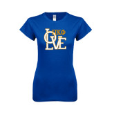 Next Level Ladies Softstyle Junior Fitted Royal Tee-Love Stacked