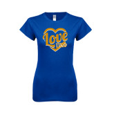Next Level Ladies SoftStyle Junior Fitted Royal Tee-Love In Heart