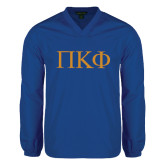 V Neck Royal Raglan Windshirt-Greek Letters