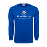 Royal Long Sleeve T Shirt-Pi Kappa Phi - Exceptional Leaders.Uncommon Opportunities.