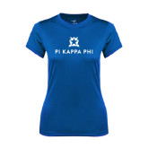 Ladies Syntrel Performance Royal Tee-Pi Kappa Phi Stacked