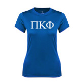 Ladies Syntrel Performance Royal Tee-Greek Letters