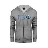 ENZA Ladies Grey Fleece Full Zip Hoodie-Greek Letters Foil