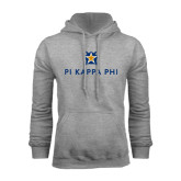 Grey Fleece Hoodie-Pi Kappa Phi Stacked