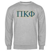 Grey Fleece Crew-Greek Letters - 2 Color