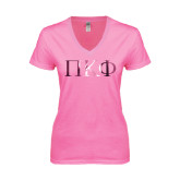 Next Level Ladies Junior Fit Deep V Pink Tee-Greek Letters Foil