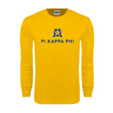Gold Long Sleeve T Shirt-Pi Kappa Phi Stacked