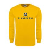 Gold Long Sleeve T Shirt-Pi Kappa Phi Stacked