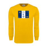 Gold Long Sleeve T Shirt-Flag Distressed