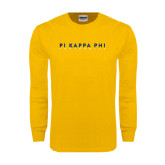 Gold Long Sleeve T Shirt-Fraternity Stacked
