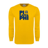 Gold Long Sleeve T Shirt-Big Pi Stacked