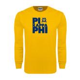 Gold Long Sleeve T Shirt-Big Pi Stacked