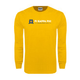 Gold Long Sleeve T Shirt-Established Date with Line