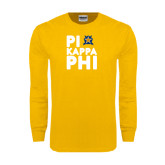 Gold Long Sleeve T Shirt-Big Pi Round Stacked