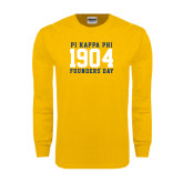 Gold Long Sleeve T Shirt-1904 Stacked Big