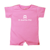 Bubble Gum Pink Infant Romper-Pi Kappa Phi Stacked