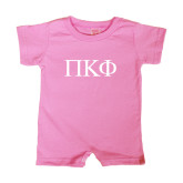 Bubble Gum Pink Infant Romper-Greek Letters
