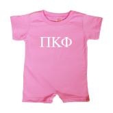 Bubble Gum Pink Infant Romper-Greek Letters