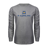Grey Long Sleeve T Shirt-Pi Kappa Phi Stacked