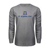 Grey Long Sleeve T Shirt-Pi Kappa Phi Stacked