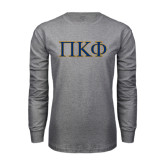 Grey Long Sleeve T Shirt-Greek Letters - 2 Color