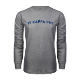 Grey Long Sleeve T Shirt-Arched Pi Kappa Phi