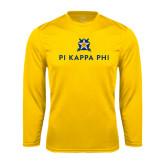 Performance Gold Longsleeve Shirt-Pi Kappa Phi Stacked
