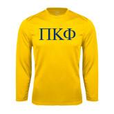 Syntrel Performance Gold Longsleeve Shirt-Greek Letters