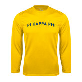 Performance Gold Longsleeve Shirt-Arched Pi Kappa Phi