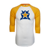 White/Gold Raglan Baseball T-Shirt-Star