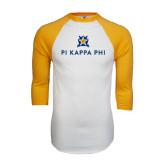 White/Gold Raglan Baseball T-Shirt-Pi Kappa Phi Stacked