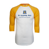 White/Gold Raglan Baseball T-Shirt-Pi Kappa Phi - Exceptional Leaders.Uncommon Opportunities.