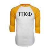 White/Gold Raglan Baseball T-Shirt-Greek Letters - 2 Color