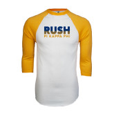 White/Gold Raglan Baseball T-Shirt-Rush