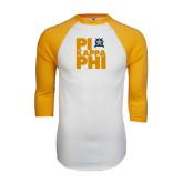 White/Gold Raglan Baseball T-Shirt-Big Pi Stacked