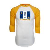 White/Gold Raglan Baseball T-Shirt-Flag Stacked Distressed