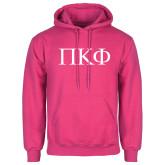 Fuchsia Fleece Hood-Greek Letters
