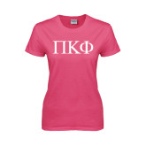 Ladies Fuchsia T Shirt-Greek Letters