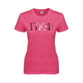 Ladies Fuchsia T Shirt-Greek Letters Foil