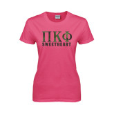 Ladies Fuchsia T Shirt-Greek Letters Sweetheart Stacked - Cameo