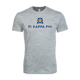 Next Level SoftStyle Heather Grey T Shirt-Pi Kappa Phi Stacked