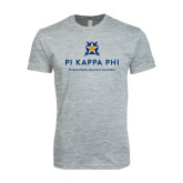 Next Level SoftStyle Heather Grey T Shirt-Pi Kappa Phi - Exceptional Leaders.Uncommon Opportunities.
