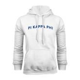 White Fleece Hoodie-Arched Pi Kappa Phi
