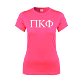 Ladies Performance Hot Pink Tee-Greek Letters