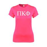 Ladies Performance Hot Pink Tee-Greek Letters
